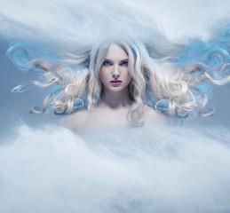 Fantasy expressive portrait of a blonde beauty
