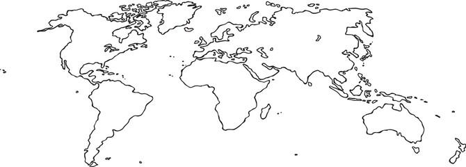 Foto op Plexiglas Wereldkaart Freehand world map sketch on white background. Perspective view.