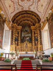 Santo Tirso, Portugal. December 26, 2015: Interior of the S. Bento monastery. Benedictine order. Built in the Gothic (cloister) and Baroque (church) style.