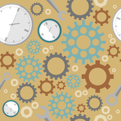 Industrial pattern on brown background. Wrench, clock, cog, gear. Abstract concept of teamwork, successful business and communication.