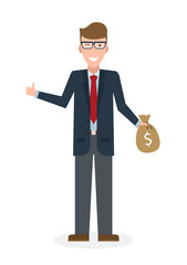 Businessman with money bag and thumb up gesture on white background. Isolated character. Businessman holding money bag. Concept of successful job.