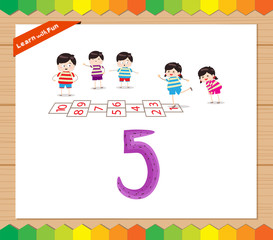 Kids playing with the number 5