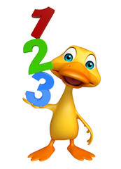 Duck cartoon character with 123 sign