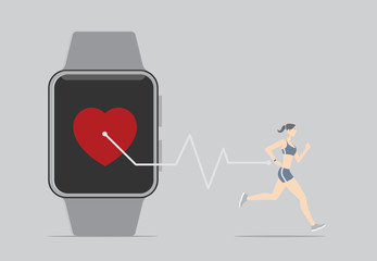 Fitness Sensor App Concept. Girl running with wearable device.