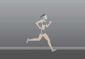 Young woman wearing pollution mask while exercising.
