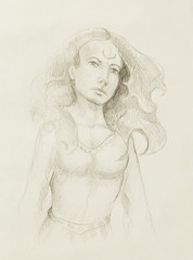 mystic woman. pencil drawing on old paper.
