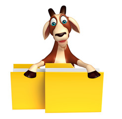 Goat cartoon character with folder