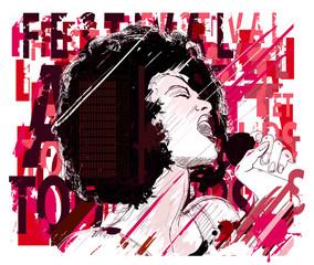 Canvas Prints Art Studio Music Jazz, afro american jazz singer