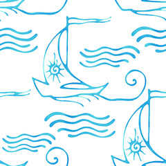 Seamless pattern with decorative sailing ships