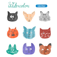 Set of cute cats. Watercolor collection of cats heads isolated on white. Vector illustration.