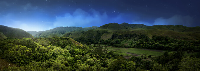 Wall Murals Indonesia Hill in Sumba island at night, Indonesia