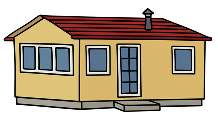 Yellow small house / Hand drawing, vector illustration