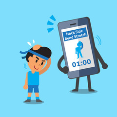 Cartoon smartphone helping a man to do neck side bend stretch exercise