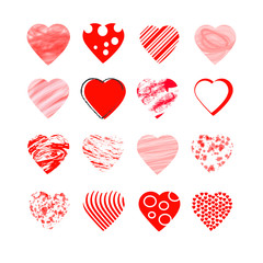 red heart  on white background  vector valentine day