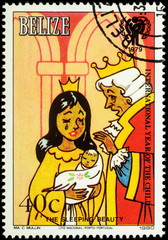King and Queen with their daughter - illustration to the fairy t