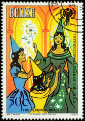 """Illustration to the fairy tale """"Sleeping Beauty"""" on postage stam"""