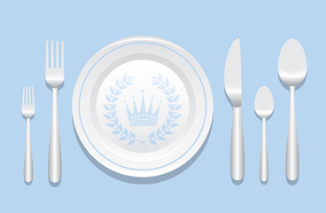 Plate And Silverware Layout With Laurel Wreath