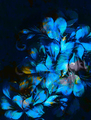 flower painting on black background. Blue color.