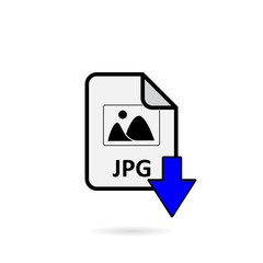 JPG file with blue arrow download button on white background vector