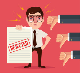 Rejected document and dislike hands. Vector flat cartoon illustration