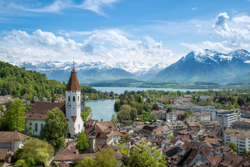 The historic city of Thun, in the canton of Bern in Switzerland Wall mural