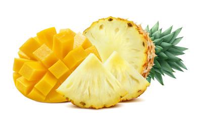 Mango pineapple cut mix isolated on white background