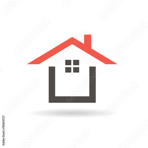 Red roof house logo. Vector graphic design