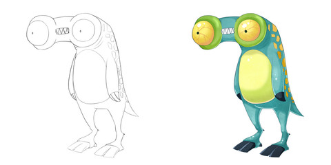 Creative Illustration and Innovative Art: Monster Creature Character Design Set 4: Telescope Frog iSolated on White Background. Realistic Fantastic Cartoon Style Character Design, Story, Card Design
