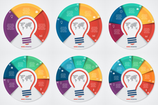 Vector idea pie chart infographic set for graphs, charts, diagrams. Business concept with options, parts, steps, processes.