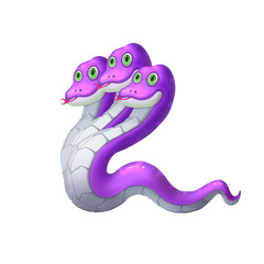 Creative Illustration and Innovative Art: Three Head Snake iSolated on White Background. Realistic Fantastic Cartoon Style Character Design, Story, Card Design