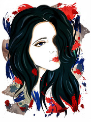 Sad girl with black hair. Fashion illustration on abstract textured background. Print for T-shirt
