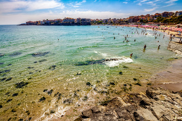 people at the sea beach of Sozopol