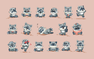 isolated Emoji character cartoon Raccoon cub sticker emoticons with different emotions