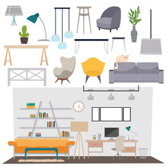 Parlour interior vector illustration.