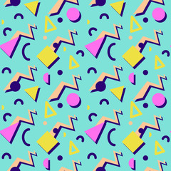 Seamless geometric vintage pattern in retro 80s style, memphis. Ideal for fabric design, paper print and website backdrop. EPS10 vector file.
