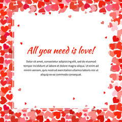Template with many red hearts and text space, square illustration