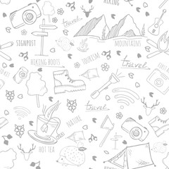 Vector seamless pattern with camping elements