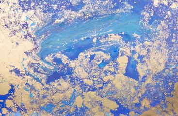 Blue watercolor hand drawn marbling illustration