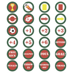 soccer icons set on a white background for live online translation, logos, emblems and designs of soccer games and  championships vector