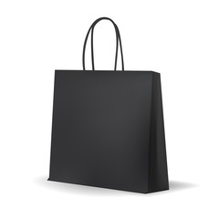 Empty Black Shopping Bag  for advertising and branding. MockUp Package. Vector Illustration.