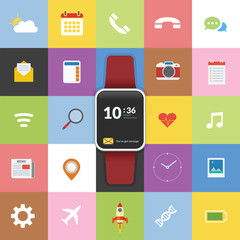 Smartwatch technology concept with icon background and flat design