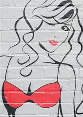 Art urbain, portrait d'une jeune femme