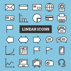 Set of coloful linear web icons: business, media, communication