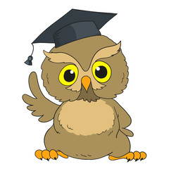 Smart owl. Cartoon character graduation owl.