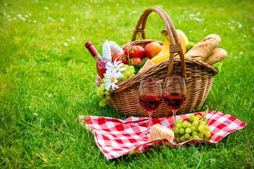 Fotobehang Picknick picnic setting on meadow