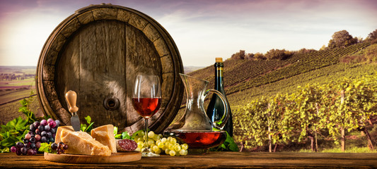 Wine barrel on vineyard