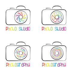 Set of photo camera symbols,  icons, logos and labels.