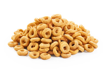 Corn rings isolated on white background. Cereals.
