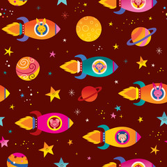 cute animals in spaceships kids space seamless pattern