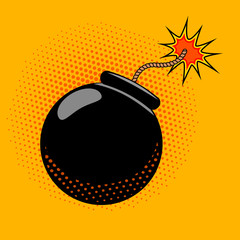 Cartoon bomb with fire in pop art style